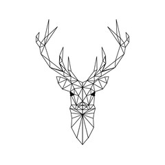 Deer head geometric lines silhouette