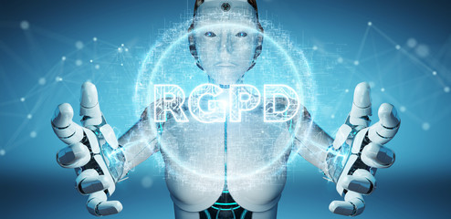 White cyborg woman using digital GDPR interface 3D rendering