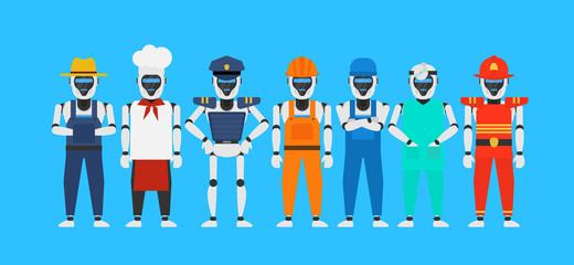 robots humanoid profession set.farmer chef policeman builder mechanic doctor fireman