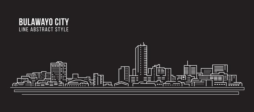 Cityscape Building Line art Vector Illustration design - Bulawayo city