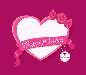 Best Wishes 4 you Greeting Card Design with Heart