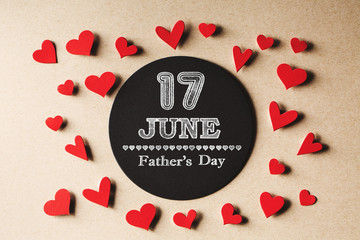 17 June Fathers Day message with handmade small paper hearts