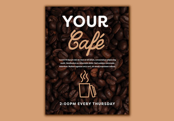 Café Poster Layout with Coffee Bean Elements