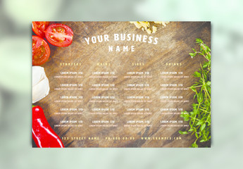 Menu Layout with Vegetables on Cutting Board Photo Element