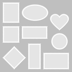 10 Blank Stamps White Frame Grey Background