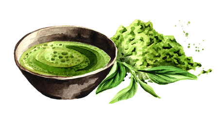 Organic green Matcha tea with green tea leaves and matcha powder. Watercolor hand drawn illustration,  isolated on white background