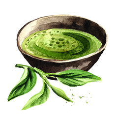 Organic green Matcha tea with green tea leaves. Watercolor hand drawn illustration,  isolated on white background