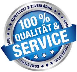 """Button Banner """"100% Qualität & Service"""" blau/silber"""