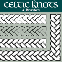 Celtic knots brushes. 4 different versions of a brush: with white filling, without filling, with shadows and with a black background. All brushes include outer and inner corner tiles.
