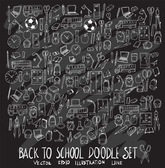 Hand drawn Sketch doodle vector line Back to school icon set on white eps10