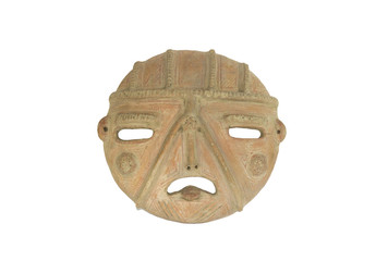 clay mask of the human face made by the indigenous civilization of more than 1650 years of age, natives of the state of Lara, Venezuela, South America.