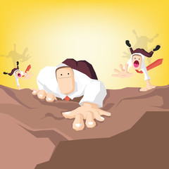 Businessman climbs up the cliff with other competitors
