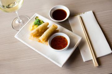 served harumaki dish
