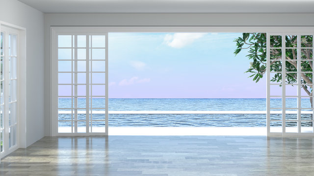 Luxury empty room interior villa with wooden floor, aerial sea view 3d illustration summer holiday