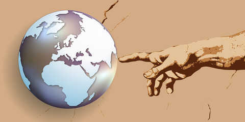 terre - création - concept - Dieu - main - globe - monde - croyance - religion - créer, humanité