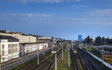 The building of a large railway  station on the routes of communication