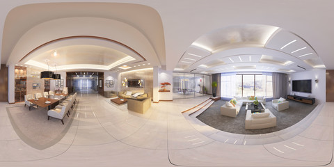 3d Illustration of modern interior 360 hall