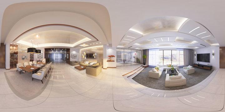3d Illustration of modern interior 360 hall