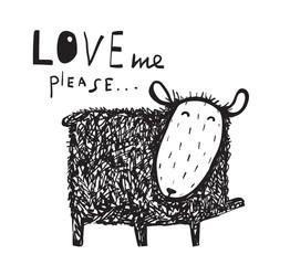Love me says the sheep sign. Cute hand drawn illustration. Vector cartoon.