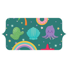 banner with cute octopus and related icons pattern over white background, vector illustration