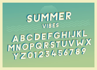 Summer Vibes font effect design with retro colors. Vector art. Includes full alphabet and numbers
