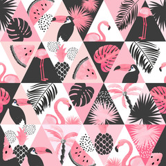 Printed kitchen splashbacks Watercolor Nature Seamless watercolor tropical pattern in patchwork style. Vector trendy background with flamingo, palm leaves, watermelon.
