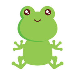 cute frog icon over white background, colorful design. vector illustration