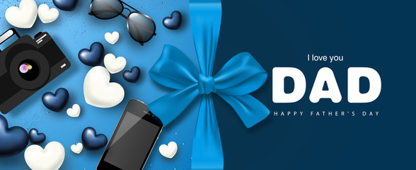 Happy Father's day banner design with gifts boxes,camera, phone, sunglasses,bow and hearts.Vector illustration.