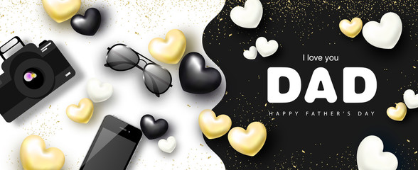 Happy Father's day banner design with camera, phone, sunglasses and hearts.Vector illustration.