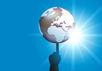 terre - main - doigt - concept - pouvoir - jeu - danger - géopolitique - puissance - globe terrestre