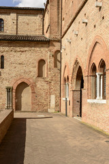 side buildings at abbey courtyard, Pomposa, Italy