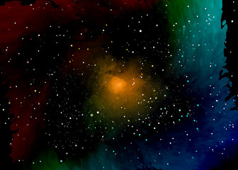 Star field in space and a nebulae. Abstract background of universe and a gas congestion. Spiral galaxy space with black holes. Vector nebula, for use with projects on science, research, and education.