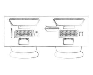 workspace office desk computer designer tablet chairs vector illustration sktech