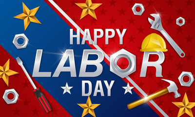 Labor Day. USA Labor Day background. Banner with stars of USA flag and typography