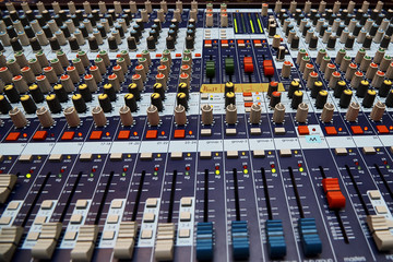Professional sound control panel close-up.