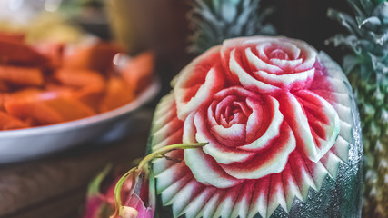 Carving Flower Watermelon