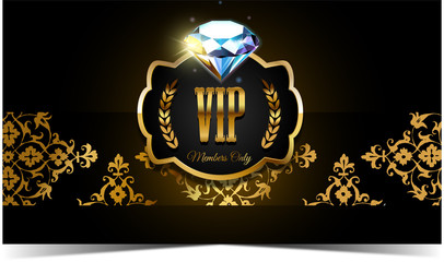 VIP invitation with golden elements and diamond