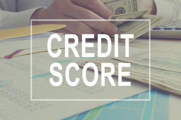Credit score concept. Manager is working.