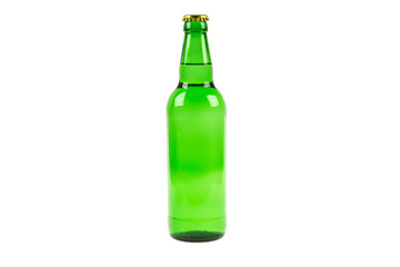 beer glass green glass with a lid on a white background