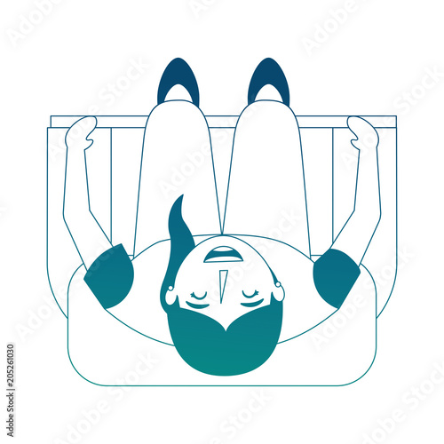 Top View Woman Sitting On Sofa Vector Illustration Neon Blue Stock