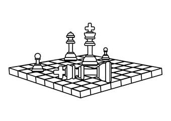 chessboard with pieces and checkmate over white background, vector illustration