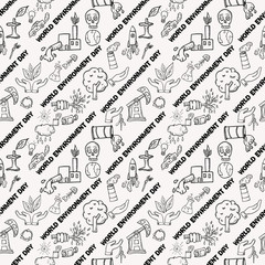 seamless pattern contour of elements for design various objects of human activities the theme for world environment day, the background is isolated