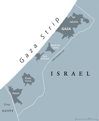Gaza Strip political map. Self governing Palestinian territory on coast of Mediterranean Sea. Borders to Israel and Egypt. Claimed by State of Palestine. English labeling. Gray illustration. Vector.