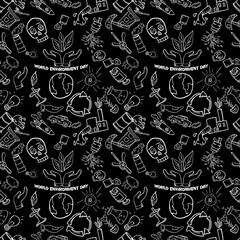 seamless pattern_4_contour of elements for design various objects of human activities the theme for world environment day, the background is isolated