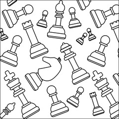 background of chess pieces pattern, vector illustration