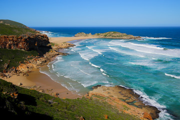 Beach south of the Robberg peninsula, as seen from the Gap in the Robberg Nature Reserve near Plettenberg Bay on the Garden Route, Western Cape, South Africa
