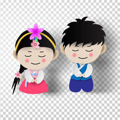 Paper art of Korean traditional  boy and girl in korean costume  on transparent background.vector illustration
