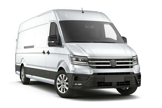 Commercial cargo van isolated on white