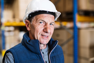 Portrait of a senior male warehouse worker or a supervisor. Close up.