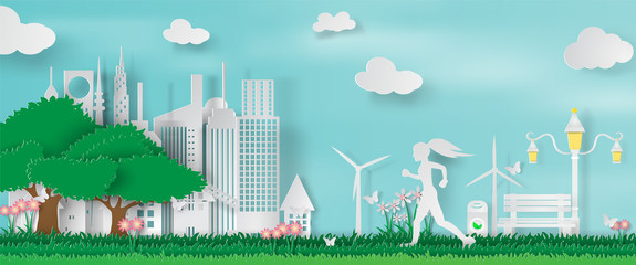 Paper art and craft of Green parks with woman running in city.vector illustration